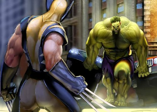 THE HULK - Vs WOLVERINE - CARS canvas print - self adhesive poster - photo print